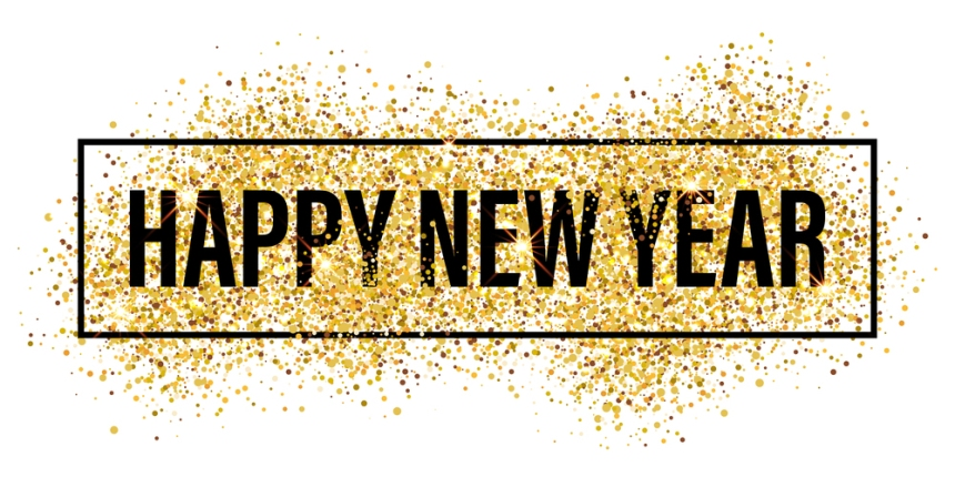 Gold glitter Happy New Year 2017 background. Happy new year glit
